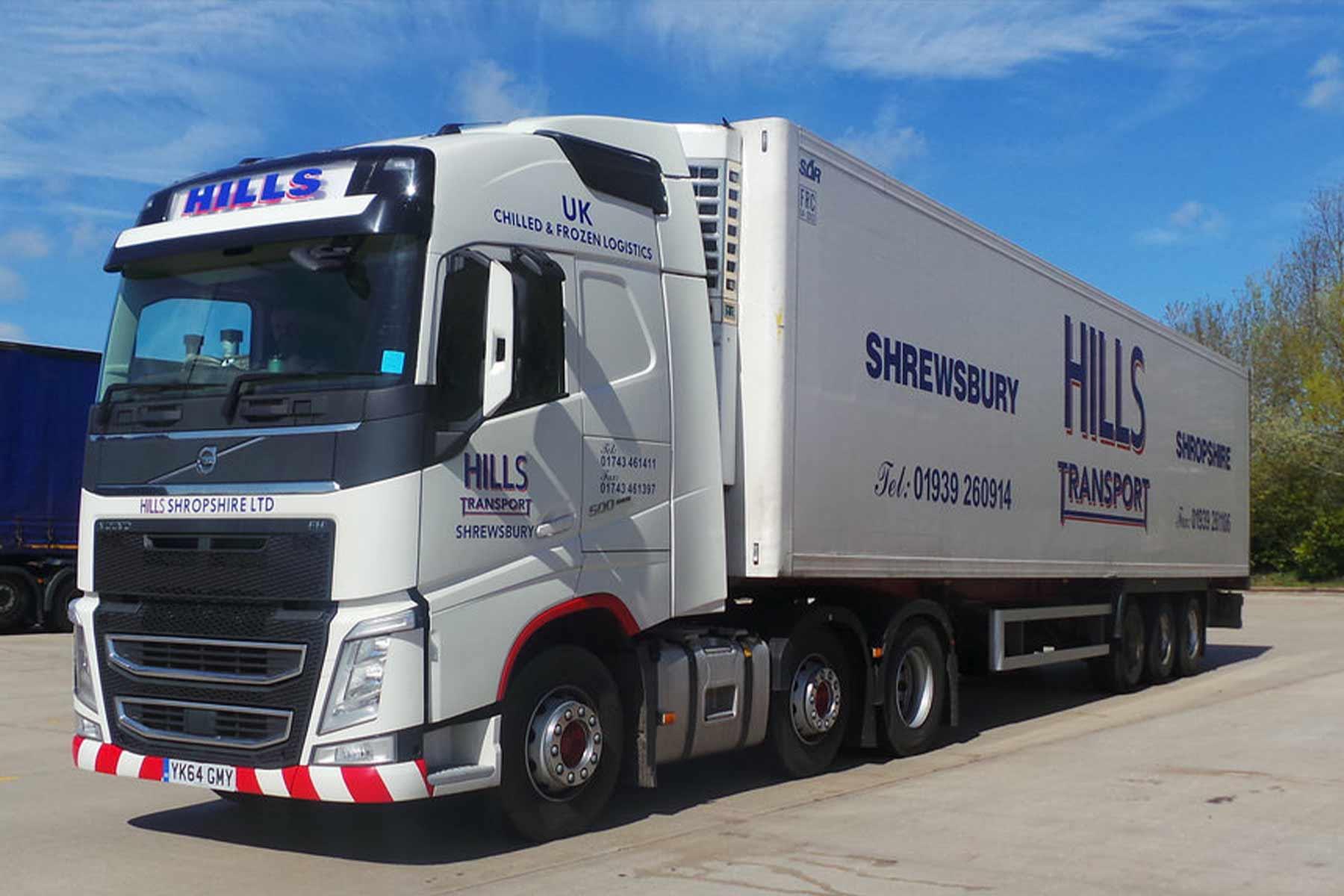 Website design for Hills Transport Shropshire Haulage web designers